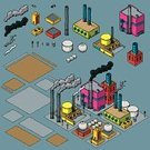 Factory,Isometric,Power Station,Refinery,Cartoon,Electricity Pylon,Chemical Plant,Storage Tank,Car,Industry,Vector,Loading Dock,Air Pollution,Ilustration,Smoke - Physical Structure,Police Car,Smoke Stack,Bright,Multi Colored,Set,Vibrant Color,Collection,Model Kit
