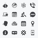 Internet,Speech,Calendar,Computer,Sign,Text Messaging,Vector,Symbol,Telephone,US Currency,Pig,Auction,Large,Banking,Coin,Retail,Currency,E-commerce