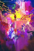Art And Craft,Textured,Color Image,Multi Colored,Purple,Paint,Brush Stroke,Vibrant Color,Men,Abstract,Illustration,Painted Image,Creativity,Oil Painting,Acrylic Painting,Watercolor Painting,Art