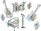 Jazz,Piano,Guitar,Double Bass,Drum,Microphone,1950s Style,Music,Ilustration,Rock and Roll,Grand Piano,Piano Key,Vector,Swing Jazz,Bass Drum,Treble Clef,Electric Guitar,Funk Jazz,Nightclub,Snare Drum,Bebop,Blue,Powder Blue,Illustrations And Vector Art,Acid Jazz,Vector Icons,Music,Arts And Entertainment
