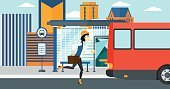 People,Travel,Transportation,One Person,Cartoon,Design,Vector,Flat,Tripping,Urban Scene,City,Bus,Stop Gesture,Road,Built Structure,Plan,Journey