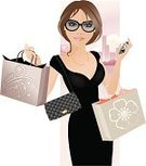 Fashion,Shopping,Women,Shopping Bag,Ilustration,Retail,Vector,Purse,Cheerful,City,Happiness,Dress,Sunglasses,Buying,One Woman Only,Smiling,Retail/Service Industry,Industry,Fashion,Beauty And Health,Outdoors