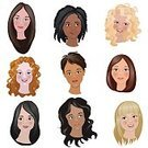 Brown Hair,Human Face,Blond Hair,Collection,Illustration,Cute,Hairstyle,Fashion,Lifestyles,Beautiful,Design,Vector,Women,People,Caucasian Ethnicity,Creativity,Femininity,Redhead,Wedding,Elegance,Hair Care,Hairdresser,Ponytail,Glamour,Curly Hair