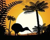 Nature,Outdoors,Back Lit,Animal,Plant,Animals In The Wild,Bird,Tree,Uncultivated,Fern,Palm Tree,Dawn,Sunset,Silhouette,Forest,Tropical Rainforest,New Zealand,Kiwi - Bird,Outline,Illustration,Animal Themes,No People,Vector,Contour Drawing