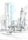 City,Architecture,Vertical,Residential District,House,Monument,Spain,Madrid,Illustration,Sketch,No People,The Capital