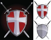 Shield,Sword,The Crusades,Cross,Cross Shape,Shielding,Coat Of Arms,Vector,Weapon,Red,Symbol,Silver Colored,Protection,Security,Ilustration,Metal,Blade,Gray,Objects/Equipment,Vector Icons,Isolated Objects,Handle,Shiny,Steel,hilt,Illustrations And Vector Art