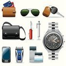 Watch,Personal Accessory,Car Key,Symbol,Wallet,Religious Icon,Key,Sunglasses,Computer Icon,Shoulder Bag,Electric Razor,Shaving,Telephone,Eyeglasses,Male,Vector,Bag,Penknife,Clock,Mobile Phone,Luggage,Credit Card,Father,Set,Shaving Equipment,Communication,Pencil,Vector Icons,Instrument of Time,People,Objects/Equipment,father day,Illustrations And Vector Art,hand watch
