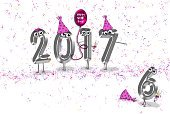 Confetti,Silver Colored,Hat,Balloon,Anger,New Year's Eve,Holiday,Party - Social Event,Illustration,New Year