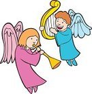 Angel,Music,Cartoon,Harp,Trumpet,Musician,Computer Graphic,Symbol,Musical Instrument,Religious Icon,Characters,Vector,Ilustration,Design Element,Vector Cartoons,Illustrations And Vector Art,Line Art,Playing