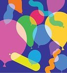 Balloon,Party - Social Event,Birthday,Transparent,Silhouette,Inflatable,Fun,Illustration,Celebration,Latex,Vector