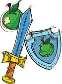 Attributes,Educational Subject,Sketch,Sign,Sword,Illustration,Fashion,Shield,Arts Culture and Entertainment,Knight - Person,Vector,Drawing - Art Product,Apple - Fruit