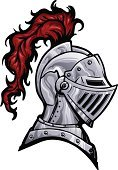 Knight,Work Helmet,Medieval,Suit of Armor,Mascot,Black Color,Feather,Vector,Face Guard - Sport,Profile View,Ilustration,Silver Colored,Metal,Red,Steel,Objects/Equipment,Vector Cartoons,Isolated Objects,Gray,Isolated,Illustrations And Vector Art