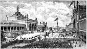 Philadelphia,History,Ilustration,Old,News Event,Landscape,Engraved Image,Built Structure,Celebration,Antique,USA,Building Exterior,Image Created 19th Century,Architecture,Landmarks,Memorial,Event,Urban Scene,Pennsylvania,Architecture And Buildings,Image Created 1870-1879,Holidays And Celebrations,Memorial Hall,Old-fashioned,Group Of People,Monuments,Travel Locations,Famous Place,Horizontal,Monoprint