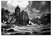 Old,Landscape,History,Environment,Nautical Vessel,Horizontal,Castle,Classical Style,Victorian Style,Europe,Black And White,Paintings,Drawing - Art Product,Switzerland,Dark,Old,Old-fashioned,Cultures,Water,Storm,Cloud - Sky,Wave,Landscape,Mountain,Lake,Geneva - Switzerland,Lake Geneva,European Alps,Scenics,Swiss Culture,Cut Out,Art And Craft,Art,Overcast,Pencil Drawing,Illustration,Engraved Image,Obsolete,Antique,Sketch,Painted Image,19th Century Style,Retro Styled,Print,Chateau De Chillon,White Background,Chillon,Ship,Ship,19th Century,Swiss Alps,78279