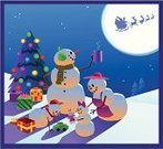 Snowman,Family,Christmas,Santa Claus,Sleigh,Christmas Tree,Winter,Vector,Hot Chocolate,Snow,Toy,Gift,Night,Outdoors,Cheerful,Families,Holidays And Celebrations,Christmas,Square,Ilustration,Lifestyle