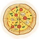 Pizza,Cartoon,Food,Clip Art,Slice,Vegetable,Cheese,toppings,Circle,Mushroom,Ilustration,Dinner,Mozzarella,Lunch,Unhealthy Eating,Edible Mushroom,Salami,Pepperoni,Fast Food,Fat,Drawing - Art Product,Sauces,Junk Food/Fast Food,Illustrations And Vector Art,Green Bell Pepper,Take Out Food,Food And Drink