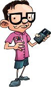 Nerd,Cartoon,Calculator,Expertise,Technology,IT Support,Child,Little Boys,Characters,Eyeglasses,Human Brain,Intelligence,Laughing,Vector,Working,Cute,Dress Shoe,Sports Shoe,Smiling,Clip Art,Service,Cheerful,Illustrations And Vector Art,Caucasian Ethnicity,Good Grades,Vector Cartoons,Technology