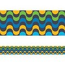 Wave Pattern,Brazilian Culture,Modern,Yellow,Green Color,Blue,Backgrounds,Abstract,Pattern,Seamless,Black Color,Multi Colored,Retro Styled,Vector