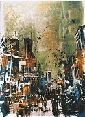 Urban Scene,Rough,Art,Messy,Oil Painting,Brush Stroke,Built Structure,Art And Craft,People,Modern,Street,Cityscape,Abstract,Creativity,Grunge,Acrylic Painting,Watercolor Painting,Textured,Painted Image,Architecture,Illustration