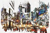 Acrylic Painting,Modern,Cityscape,Business,Computer Graphic,Watercolor Painting,Art And Craft,Creativity,Grunge,Brush Stroke,Street,Art,Multi Colored,Abstract,Architecture,Painted Image,Built Structure,Oil Painting,Illustration,Urban Scene