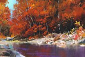Horizontal,Abstract,Tranquil Scene,Creativity,No People,Art And Craft,Art,Landscape,Painted Image,River,Stream - Flowing Water,Illustration,Nature,Oil Painting,Woodland,Autumn,Watercolor Painting,Lake,Forest,Landscape,Acrylic Painting,Water,Beauty In Nature,Scenics,Stone - Object,Orange Color,Multi Colored,Red