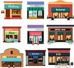 Coffee Shop,Clothing Store,Retail,Clip Art,Modern,Design Element,Drawing - Art Product,Bar - Drink Establishment,Vector,Bookstore,White Background,Icon Set,Illustration,Bakery,Hardware Store,Book,Isolated,Store,Boutique,Flower,Workshop,Pharmacy,Restaurant,Business