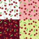 Leaf,Backgrounds,Colors,White,Nature,Abstract,Computer Graphic,Illustration,Ornate,Vector,Green Color,Design Element,Cartoon,Simplicity,Berry Fruit,Seamless,Pink Color,Red,Pattern,Cherry