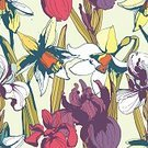Summer,Art,Wallpaper Pattern,Nature,Springtime,Illustration,Blossoming,Plant,Green Color,Daffodil,Flower Vector,Romance,Vector,Iris - Plant,Blossom,Abstract,Floral Pattern,Flower,Seamless,Backgrounds,Flower Head,Vintage Pattern,Grunge,Winter Narcissus,Drawing - Activity,Multi Colored,Pattern,Pink Color