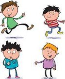 Run,People,Happiness,Cheerful,Running,Standing,Smiling,Multi Colored,Fun,Child,Teenager,Illustration,Cartoon,Four People,Vector,Characters