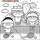 Child,Coloring,Page,Sport,Black Color,Outline,Book,Painting,Illustration,Black And White,Drawing - Activity,Ball,Boys,Girls,Winning,Court,Playing,Cartoon,Tennis,Vector,Drawing - Art Product,Racket,Grass,Playing Field,Award,Gold,Cheering,Confetti,Net - Sports Equipment,Tennis Ball,White,Pencil Drawing,Line Art,Coloring Book,Championship,Competition,Trophy