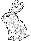 Mammal,Doodle,Coloring Book,Colors,Book,Pets,Nature,Hare,Curve,Monochrome,Decoration,Vector,Pattern,Wildlife,Outline,Decor,Relaxation,Adult,Abstract,Ethnic,Black And White,sharp lines,Ornate,Illustration