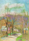 Vertical,Caucasus,Outdoors,Painted Image,City,Illustration,House,House,Mountain,Landscaped,Street,April,Urban Skyline,Building Exterior,Drawing - Activity,Road,Season,Paintings,Pastel Drawing,Caucasus Mountains,Scenics,Springtime,Cityscape