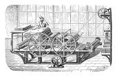 Printing Press,Old,Printing Plant,Printer,Printing Out,Print,History,Factory,Woodcut,Image Created 18th Century,Industry,Engraved Image,Equipment,Antique,Manual Worker,The Media,Manufacturing,18th Century Style,Gear,Working,Men,Drawing - Art Product,Ilustration,Black And White,manufactury,Paper Industry,Printing Plate,Industrial Era,Manufacturing Equipment,Painted Image,Industrial Equipment,Industrial Age,Pencil Drawing,Print Media,Industrial Revolution,Steel Engraving,gearwheel
