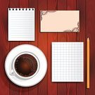 Textured Effect,Directly Above,On Top Of,Plank,In A Row,Hot Drink,Illustration,Brown,White,Table,Letter,Espresso,Backgrounds,Vector,American Culture,Paper,Business Card,Pencil,Workbook,Cup Coffee
