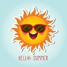 Summer,Vector,Heat - Temperature,Sun,Illustration,Flat Design,Yellow,Cute,Happiness,Cartoon,Season,Smiling,Bright,Sunglasses,Characters,Cheerful,Orange Color,Human Face,Blue,Fun,Symbol,Weather,Sunny,Nature,Red,Shiny,Smiley Face,Text