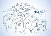 Art,Life,Sketch,Isolated,Animal,Dolphin,Vector,Illustration,Fish,Water,Positive Emotion,Cute,Animal Head,Coloring Book,Adult,Clip Art,Play,Performance,Collection,Set,Single Line,Sea,Tattoo,Computer Graphic,Swimming Animal,Design,Wildlife,Summer,Nature,Drawing - Art Product,Aquatic,Mammal,Jumping,Playful,Underwater,Tail,Blue,Page,Child,dolphinarium,Outline,White,Motion,Doodle,Cheerful