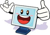 Computer,Cartoon,Computer Monitor,CPU,Cheerful,Smiling,Cute,Drawing - Activity,Vector,Winning,Positive Emotion,Design,Action,Emotion,Digitally Generated Image,resolusion,Clip Art,Illustrations And Vector Art,Looking At Camera,Blue,Electronics Industry,Electronics Store,Showing,Power