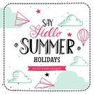 Postcard,Banner,Decoration,Sign,Text,Vacations,Paper Airplane,Message,Vector,Hello,Summer,Illustration,Sky,Symbol,Cloud - Sky,Hot Air Balloon,Abstract,Greeting Card,Typescript,Art,Old-fashioned,Retro Styled,Season