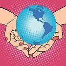 Women,Earth,Sea,Nature,mankind,USA,North,Environmentalist,Charity and Relief Work,South,Humor,Style,Vector,Environment,Pop Art,Modern,Blue,Spotted,Hip,Activist,Retro Styled,Human Hand,Planet - Space,continent,Heart Shape,Care,Cartoon,People,Protection,Volunteer,Pop Musician,1940-1980 Retro-Styled Imagery,Ideas,Illustration,Halftone Pattern,Day,Comic Book,Painted Image