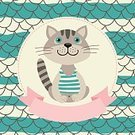 Cartoon,Domestic Cat,Cheerful,Cute,Greeting Card,Backgrounds,Striped,Positive Emotion,Young Animal,Animal,Fun,Mammal,Pets,Postcard,Vector,Kitten,Kid Goat,Illustration,Invitation,Isolated,Frame