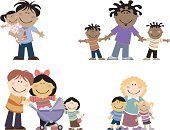 Cartoon,Child,Parent,Mother,Family,Offspring,Father,One Parent,Group Of People,Family with Two Children,Vector,Family with One Child,Ilustration,Wife,Isolated On White