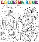 Cheerful,Stage Make-up,Joy,Characters,Fun,Event,Stage Costume,Bicycle,Drawing - Art Product,Eps10,Illustration,Happiness,Footpath,Enjoyment,Performer,Outline,Smiling,Drawing - Activity,Art,Vector,Riding,Clown,Performance,Entertainment,Entertainment Tent,Circus,One Person,Coloring