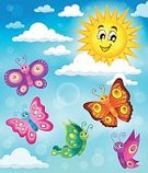 Animal Wing,Insect,Shape,Colors,Vibrant Color,Multi Colored,Lepidoptera,Flying,Illustration,Eps10,Style,Smiling,Cheerful,Butterfly - Insect,Sun,Happiness,Joy,Creativity,Art,Vector,Mid-Air,Summer,Cloud - Sky,Sky,Light - Natural Phenomenon,Nature,Springtime,Ornate