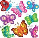 Summer,Cheerful,Springtime,Nature,Ornate,Joy,Smiling,Eps10,Illustration,Style,Happiness,Vibrant Color,Multi Colored,Art,Clip Art,Vector,Set,Creativity,Lepidoptera,Colors,Shape,Animal Wing,Insect,Butterfly - Insect