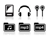 Reflection,Modern,Illustration,Image,File,Design,Radio,Resting,Funky,Liquid-Crystal Display,Singing,Sound,Listening,Equipment,Technology,Multimedia,Power,Mobility,Shiny,Musical Note,Stereo,Playing,mp4,Headphones,Vector,Computer Icon,Music,MP3 Player