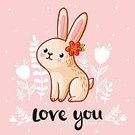 Happiness,Design Element,Art,Animals In The Wild,Romance,Pink Color,Holiday,Text,Wildlife,Easter,Doodle,Multi Colored,Single Word,Art Product,Animal,Illustration,Love,Poster,Ornate,Congratulating,Cute,Cartoon,Message,Dating,Hare,Vector,Rabbit - Animal,Greeting,Backgrounds,Decoration,Flower