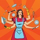 Old-fashioned,Humor,Retro Styled,Mother,Spotted,Modern,Busy,Cooking,Comic Book,Pop Art,Cartoon,Characters,Washing,Vector,Routine,Hammer,Apron,Stereotypical Housewife,Balance,Crockery,Hygiene,Maid,Working,Family,Happiness,Emotional Stress,Halftone Pattern,Lifestyles,Housework,Cleaner,Wife,Women,Domestic Life,Multi-Tasking,Females,Physical Pressure,House,Formal Glove,Kitchen Knife,Cleaning,Kitchen Utensil,Iron - Appliance,Human Hand,Success,Care,Heroes