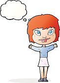 Cheerful,Doodle,Bizarre,Clip Art,Drawing - Activity,Illustration,Vector,freehand,Thought Bubble,Cute,Women