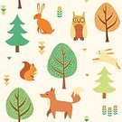 Autumn,Hare,Day,Yellow,Bird,Decoration,Filling,Gratitude,Pattern,Vector,Season,Leaf,Owl,September,Animal,Thanksgiving,Seamless,Forest,Backgrounds,Child,Squirrel