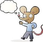 Cheerful,Drawing - Activity,Doodle,Bizarre,Clip Art,Illustration,Cute,Rat,Vector,freehand,Thought Bubble,Mouse